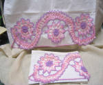 Pair Pink And Purple Lacy Crocheted Edge Pillowcases