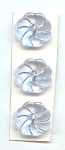 Set Of 3 Molded Blue Glass Flower Buttons
