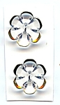Set Of 2 Gold Rimmed Clear Glass Flower Buttons