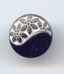 Yin-yang Black/white Glass Button