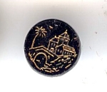 Black Glass Button With Gold Lustered Scene