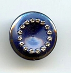 Blue Slag Glass With Silvery Flowers Button