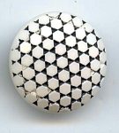 Large White And Black Glass Button