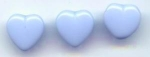 3 Periwinkle Blue Glass Heart Buttons