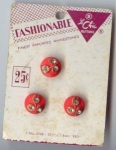 Mint On Card 3 Red Glass Rhinestone Buttons