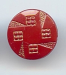 Rust Glass Art Deco Button