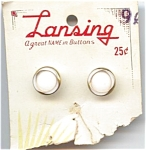 Mint On Card White Glass Lansing Buttons