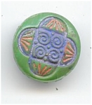 Hand Painted Green Glass Button