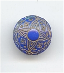 Blue & Gold Glass Button
