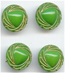 Set Of 4 Green & Gold Glass Buttons