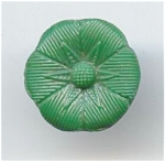 Green Glass Flower Button