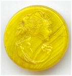 Yellow Slag Cameo Button
