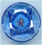 Big Faceted Blue Glass Button