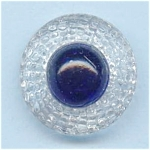 Clear & Cobalt Blue Vintage Glass Button