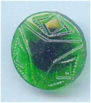 Green Molded Glass Vintage Button