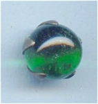 Green Glass Flower Bud Look Button