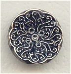Scrollwork Design Lustered Black Glass Button