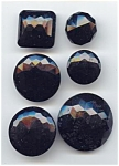 6 Large Faceted Black Glass Buttons