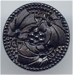 3 Flower Large Black Glass Button