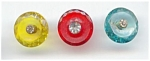3 Colorful Faceted Glass Rhinestone Buttons