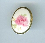Handpainted Porcelain Rose Button