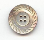 Lustrous Carved Grey Pearl Button