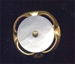 Small Mother Of Pearl Button In Brass Setting