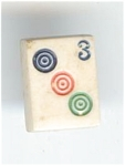 Realistic Plastic Mah Jong Tile Button