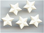 Set Of 5 White Plastic Star Buttons