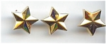 Set Of 3 Gold Plastic Star Buttons