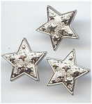 Set Of 3 Silver Plastic Star Buttons