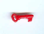 Red Plastic Realistic Key Shaped Button