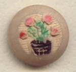 Carved And Painted Wooden Flower Pot Button