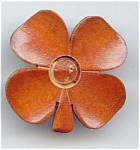 Carved Wooden Four Leaf Clover Button