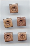 5 Carved Wooden Buttons