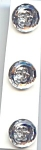 Set Of 3, Silvery Plastic Vintage Buttons