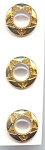 3 Golden Metal White Plastic Moonglow Buttons
