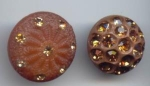 2 Brown Plastic Rhinestone Buttons