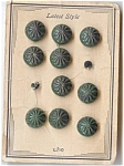 Set Of 10 Vintage Green Plastic Buttons