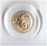 Big 2 Inch Clear Lucite & Metal Lion Button