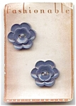 Set Of 2 Grey Blue Flower Plastic Buttons