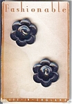 Set Of 2 Black Flower Plastic Buttons