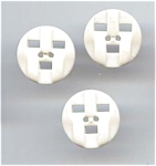 3 White Plastic Face Buttons