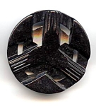 Large Black Carved Lucite Button