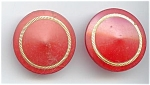 Set Of 2 Big Red & Gold Plastic Buttons