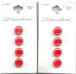 Mint On Card Small Red Plastic Buttons
