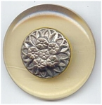 Large Lucite Button With Brass Flower Escutcheon