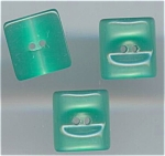 3 Green Moonglow Plastic Buttons