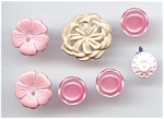 7 Vintage Pink Flower Buttons