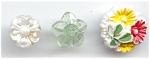 3 Vintage Plastic Flower Buttons